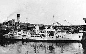 HMCS Morden - HMCS Morden at anchor.