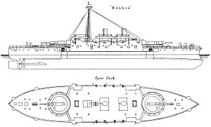 Admiral-class ironclad - Image: HMS Benbow Starboard elevation and Deck plan
