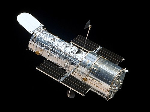 The Hubble Space Telescope, seen from Space Shuttle Atlantis.