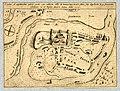 HUA-212005-Plattegrond van de burcht Trecht met weergave wegen de rivier de Oude Rijn en de omliggende bebouwing in opstand.jpg