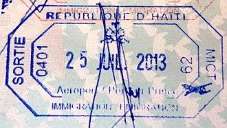 Visa policy of Haiti - Image: Haiti exit passport stamp