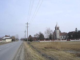 Hajdukovo - Main street and the Catholic Church