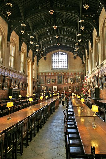 The Hall of Christ Church in Oxford, England, the inspiration for the studio film set of The Great Hall of Hogwarts. Hall of Christ Church, Oxford.jpg