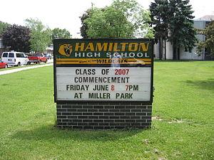 Alexander Hamilton High School (Milwaukee) - Image: Hamilton High School Sign