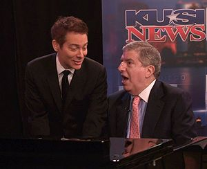 "Michael Feinstein - Michael Feinstein and Marvin Hamlisch performing a duet of Cole Porter's ""Anything Goes"" in 2009."