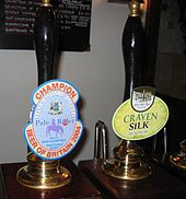 Hand pumps for beer, with clips for Kelham Island Brewery and Thornbridge Brewery