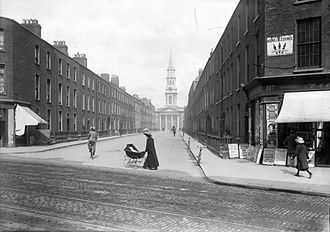 St. George's Church, Dublin - Early 20th century view of church at the end of Hardwicke Street