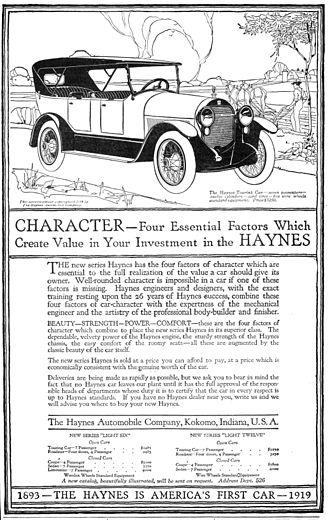 Elwood Haynes - A 1919 Haynes Automobile Company advertisement