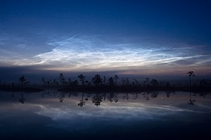 Noctilucent clouds over Kuresoo bog, Viljandimaa, Estonia