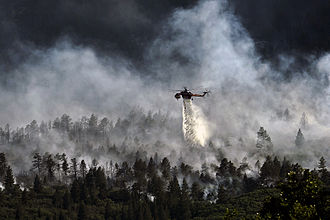 Waldo Canyon Fire - Helicopter dropping water on the fire