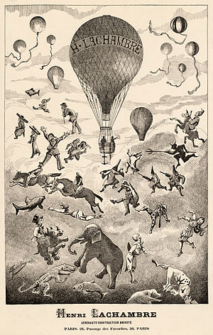Henri Lachambre - An advert for the business of 19th-century balloon-maker Henri Lachambre, depicts a balloon rising out of a mass of animals and other balloons.