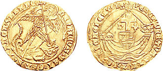 "Readeption of Henry VI - Gold ""Angel"" coin of Henry's later reign, struck in either London or York, showing the Archangel Michael slaying the Dragon (left) and Henry's shield being carried aboard a ship (right)."