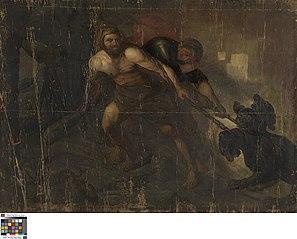 Hercules sleept Cerberus uit de hel