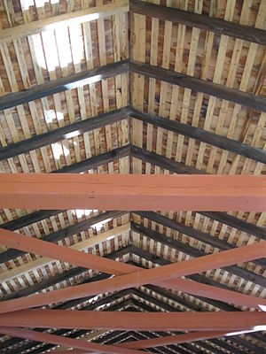 Batten - Roofing battens or laths are the light colored strips on the Hillsgrove Covered Bridge, Pennsylvania, U.S.A.