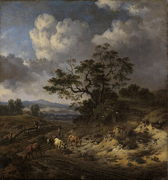 Jan Wijnants - Hilly Landscape with Cows