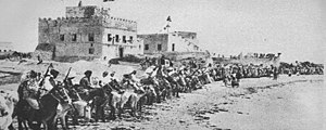 Italian Somaliland - Cavalry and fort of the Sultanate of Hobyo, one of the ruling northern Somali polities in the Campaign of the Sultanates.