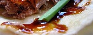 Hoisin sauce - Hoisin sauce on a Peking duck wrap