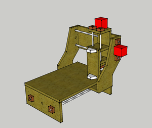 CNC router - Drawing of a Tabletop DIY - CNC router. Silver: Iron, Red: Stepper Motors, Light Brown: MDF, Dark Brown: Hard Wood