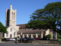 Honolulu's St. Andrew's Cathedral, from the Ewa side.jpg