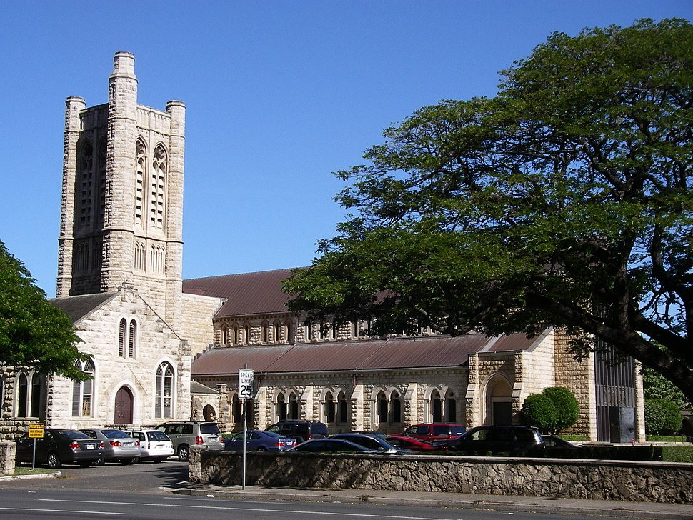 Honolulu's St. Andrew's Cathedral, from the Ewa side