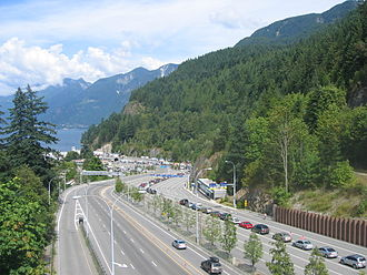 British Columbia Highway 1 - Ferry traffic on Highway 1 at the Horseshoe Bay Ferry Terminal.