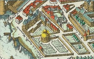 Saint-Germain-des-Prés - The palace and gardens of Queen Margaret of Valois (1615 engraving)
