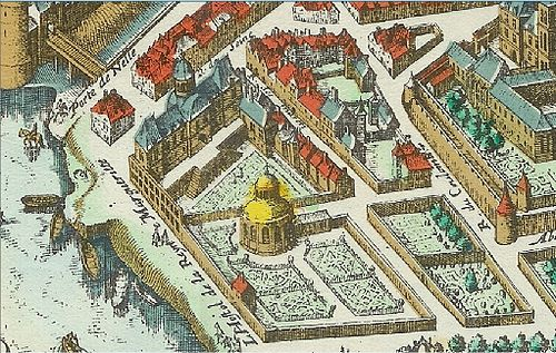L'Hostel de la Reine Marguerite built by Jean Bullant in 1609, and its gardens, as shown in Matthaus Merian 1615 plan of Paris. Hotel de la reine margueritet.jpg