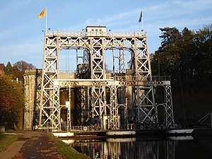Boat Lifts on the Canal du Centre - Image: Houdeng Aimeries Ascenseur no 2 1