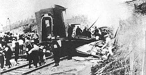 Huanggutun incident - Huanggutun railroad shortly after the explosion.