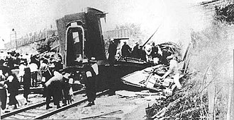 Zhang Zuolin's train after the Huanggutun Incident Huanggutun Incident.jpg
