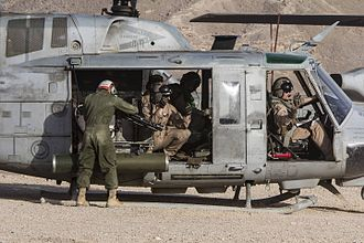 Attack helicopter - UH-1N armed with minigun and rocket pods