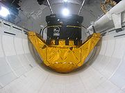 Mock-up display of a Hughes satellite booster inside the Space Shuttle Explorer (similar to the one carried on STS-49)