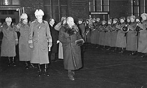 Kyösti Kallio - Kallio together with Mannerheim at the Helsinki railway station on December 19, 1940. Kallio had a fatal heart attack a few seconds after this photograph was taken by Hugo Sundström.