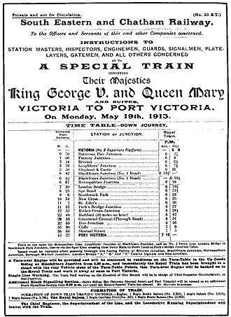 Hundred of Hoo Railway - Royal Train en route to Port Victoria, 19 May 1913