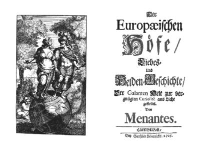 """Der Europäischen Höfe Liebes- und Helden-Geschichte […] von Menantes (Hamburg: G. Liebernickel, 1705). Eine Seite des """"Schlüssels"""" bietet der Artikel Schlüsselroman (Quelle: Wikimedia)"""