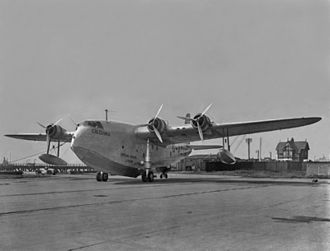 Short Empire - Short S.23 Empire G-ADHM, named 'Caledonia', on its beaching gear at Felixstowe, Suffolk, England, September 1936
