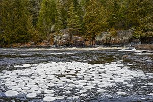 Ice circle - Ice circles on the Doncaster River, Quebec