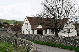 Iford, East Sussex - Iford village hall with meridian sundial