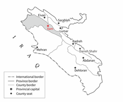 Ilam Iran Wikipedia - Ilam map
