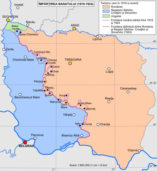 Teritoriul istoric al Banatului cu împărțirea sa în 1919-1924