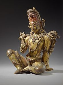 Devas are benevolent supernatural beings in the Vedic era literature, with  Indra (above) as their leader. The above gilt copper statue of Indra with  inlaid ...