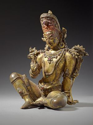 Deva (Hinduism) - Devas are benevolent supernatural beings in the Vedic era literature, with Indra (above) as their leader. The above gilt copper statue of Indra with inlaid semi-precious stones is from 16th-century Nepal.