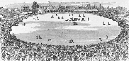 Engraving of the first intercolonial football match between Victoria and South Australia at the East Melbourne Cricket Ground, 1879 Intercolonial Football Match 1879.jpg