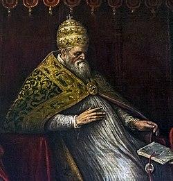 Interior of Santi Giovanni e Paolo (Venice) - Honorius III by Leandro Bassano.jpg