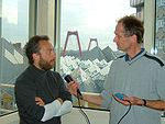 Jimmy Wales being interviewed in Rotterdam