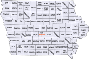 Outline of Iowa - An enlargeable map of the 99 counties of the state of Iowa