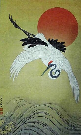 Tsuru no Ongaeshi - Ippontōchō-zu by Hara Zaichū