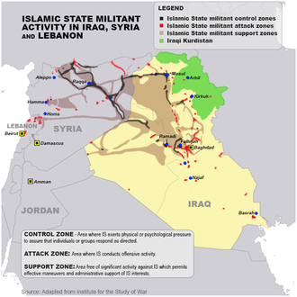 Military situation in 2015 Islamic State Militant Activity In Iraq Syria and Lebanon VOA.png