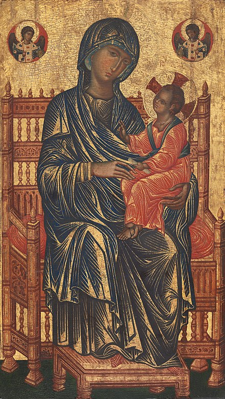 A somewhat disinterested treatment of the emotional subject and painstaking attention to the throne and other details of the material world distinguish this work by a medieval Sicilian master from works by imperial icon-painters of Constantinople. Italo-Byzantinischer Maler des 13. Jahrhunderts 001.jpg