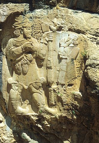 Tuwana - Warpalawas II (right) venerating the Weather God on the İvriz relief